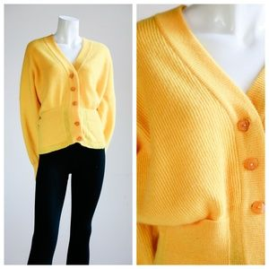 Bright Yellow Fitted Cardigan with Wide Sleeves